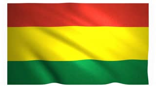 Flag of Bolivia waving on white background