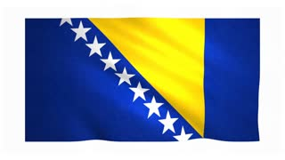 Flag of Bosnia and Herzegovina waving on white background