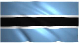 Flag of Botswana waving on white background