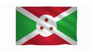 Flag of Burundi waving on white background