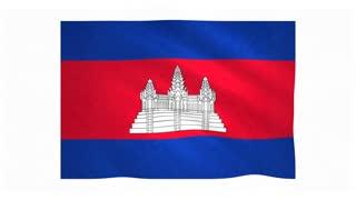 Flag of Cambodia waving on white background