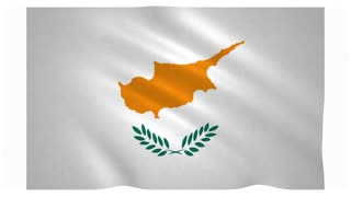 Flag of Cyprus waving on white background