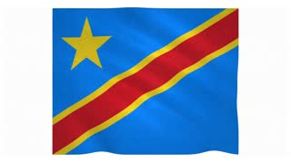 Flag of Democratic Republic of the Congo waving on white background