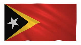 Flag of East Timor waving on white background