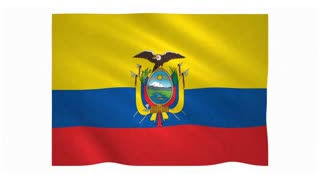 Flag of Ecuador waving on white background
