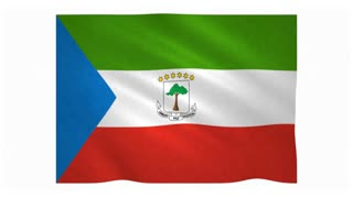 Flag of Equatorial Guinea waving on white background