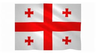 Flag of Georgia waving on white background