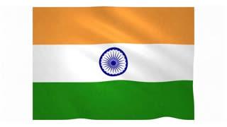 Flag of India waving on white background