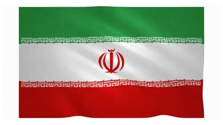 Flag of Iran waving on white background