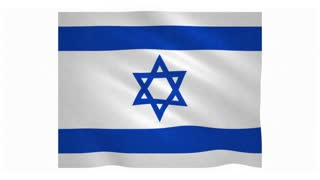 Flag of Israel waving on white background