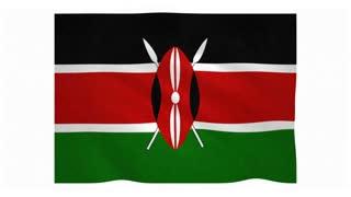 Flag of Kenya waving on white background