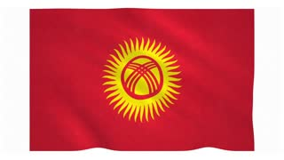 Flag of Kyrgyzstan waving on white background