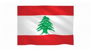 Flag of Lebanon waving on white background