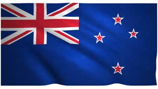 Flag of New Zeeland waving on white background