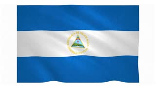 Flag of Nicaragua waving on white background