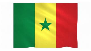 Flag of Senegal waving on white background