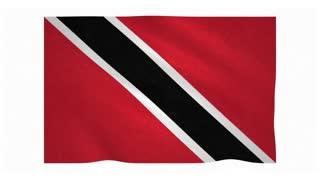 Flag of Trinidad and Tobago waving on white background