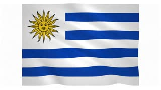 Flag of Uruguay waving on white background