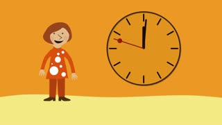 Happy woman and time moving fast. Animated character with flat design.