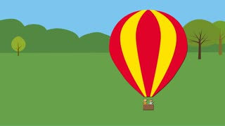 Hot air balloon with children taking off. Animated character with flat design.