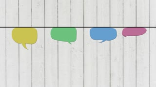Speech bubbles hanging on rope, moving. Animated flat design.