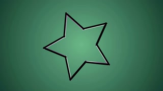 Star animation on green background. Motion graphics background.