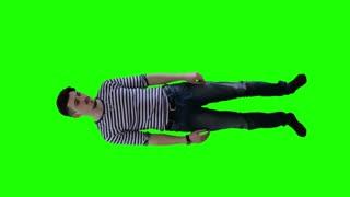 A man in a striped sweater terrified