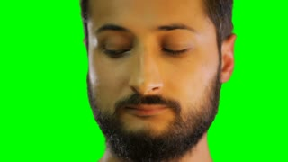 face of man smile on the green screen