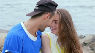 Cheerful couple in love slow motion
