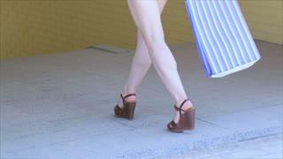 Girl shopaholic posing with shopping bag