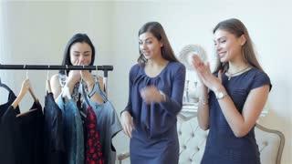 Girls choose dresses fashion boutiques