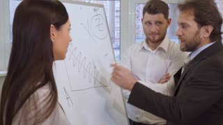 Middle aged caucasian businessman explaining something to his partners at the office. Attractive bearded man pointing marker on the flip chart. Young guy in white shirt and pretty woman in blouse