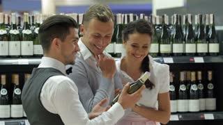 Seller offers bottles of good wine
