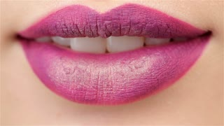 Slightly opened mouth with plum lips
