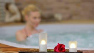 Spa resort jacuzzi hot tub woman