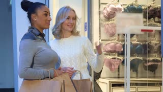Two attractive women discussing bras and panties near the lingerie shop. Pretty caucasian blond lady pointing her forefinger on the goods at the mall. Young blond female shopper consulting with her