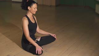 Beautiful happy relaxed woman smiling with her eyes closed doing yoga at home in the evening copyspace exercising workout training happiness peace harmony relaxation activity stretching.