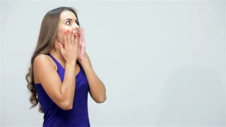 Woman showing on copyspace
