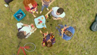Aerial shot of group of young people eating watermelon during picnic in park