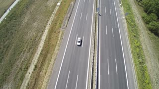 Aerial view over traffic on a highway