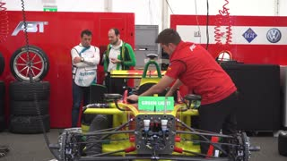 Berlin, Germany - May 20, 2016: race cars at pit stop