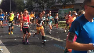 Berlin, Germany - September 25, 2016: time lapse of marathon athletes running during the competition