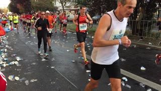 Berlin, Germany - September 25, 2016: tired runners during marathon competition