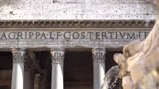 Facade of Pantheon in Rome. The Pantheon is a former Roman temple on the site of an earlier temple commissioned by Marcus Agrippa during the reign of Augustus (27 BC – 14 AD)
