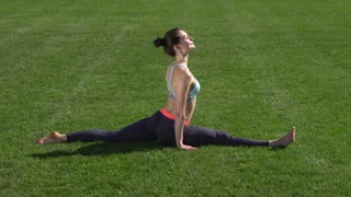Flexible girl doing gymnastic exercises on the grass