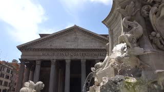 Pantheon in Rome. The Pantheon is a former Roman temple on the site of an earlier temple commissioned by Marcus Agrippa during the reign of Augustus (27 BC – 14 AD)