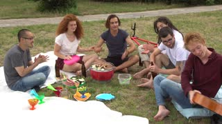 Playing music, singing and having fun at picnic in park with friends