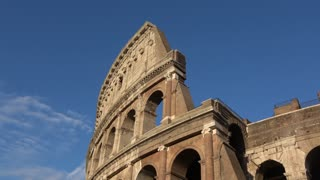 Rome, Italy - June 21, 2016: ancient Roman wonder Coliseum or Colosseo. Pan