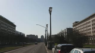 Berlin, Germany - April 5, 2018: Karl Marx Allee street, monumental socialist boulevard built by the GDR between 1952 and 1960 in Berlin Friedrichshain and Mitte, now named after Karl Marx