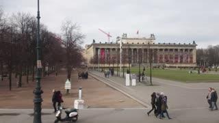 Berlin, Germany - February 4, 2018: Berlin Unter den Linden landmarks: The Altes Museum (German for Old Museum), the Lustgarten (Pleasure Garden), Berliner Dom (English: Berlin Cathedral
